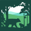 HLT logo depicting a mama bear and her cub framed by trees in silhouette in the foreground, and a view of three hills in the background.