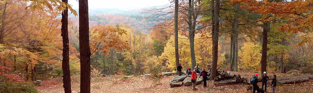 Scenic view of hills in Autumn with hikers