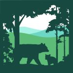 HLT logo, a bear sow and cub silhoutted in the foreground, with hills in the background