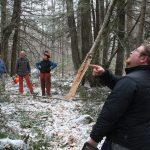 Volunteers at the Bradley Sanctuary in the snow